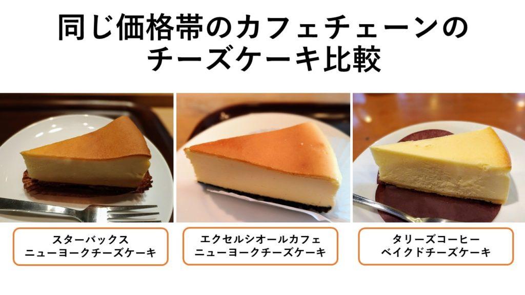 チェーンカフェのチーズケーキの違い