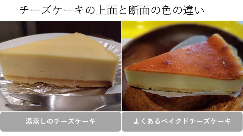 チーズケーキの上面と断面の色の違い
