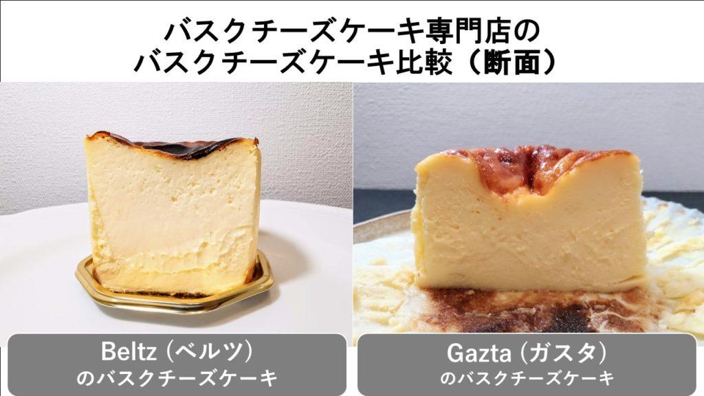 バスクチーズケーキ比較(断面)